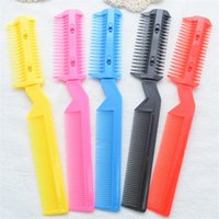Wholesale thin hair bangs resale online - New Razor Comb Hair Cutter Thinning Shaper Comb Trimmer Barber Remover Tool Double sided Plastic Bangs Hair Cutter Comb