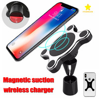 Wholesale custom magnetic - Wireless Charger Car Holder Magnetic Car Holder Car Air Vent Mount for iPhone X Android Samsung with Retail Package