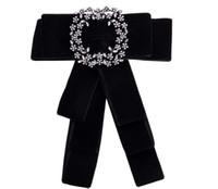 krawatte china großhandel-Neue Mode Kleid Shirt Bogen Pin Broschen Für Frauen Handgemachte Krawatte Corsage Broach Leinwand Stoff Kristall Kragen Bowknot Broschen Schmuck