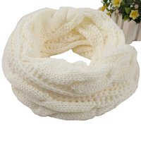 Wholesale knit cotton scarf resale online - Hot sale scarves different solid color girls scarve Europe and America women fashion knitting ring