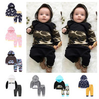Wholesale Patchwork Baby Clothes - INS Baby Suits 40 styles Baby Boys Girls Floral Print Suits Infant Clothes Set Hoddies+Pants Baby Long Sleeve Outfits Ins Clothing Set D979