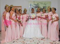 sıcak pembe bir omuz nedime elbiseleri toptan satış-2019 Pembe Bir Omuz Güney Afrika Gelinlik Modelleri Mermaid Saten Düğün Onur Hizmetçi Düğün Konuk Kıyafeti Custom Made Sıcak Satış
