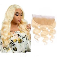 Peruvian 100% Human Hair 13X4 Lace Frontal With Baby Hair 613# Pre Plucked Body Wave 13 By 4 Frontal 613# Blonde