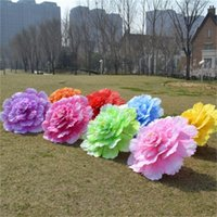 Wholesale quality parasols resale online - Two Layer Cloth Flowers Umbrellas Hand Made Simulation Peony Decorative Parasol or Wedding Party Ornaments High Quality sy5 XBkk