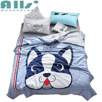 Wholesale quilt bedcover - 1pc 100% Coon Summer Quilt 2pcs Pillowcase Cute Dog Bedcover Summer Blanket For Kids Cartoon Bed Quilt High Quality