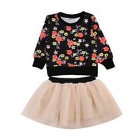 roupas para festa de aniversário venda por atacado-Moda Bebê Crianças Roupas de Menina Set Floral Pullover Camisola de Manga Longa Top Princesa Festa de Aniversário de Tule Gaze Saias Outfits