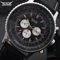erkekler marka saatler toptan satış-JARAGAR Marka Lüks Erkekler Mekanik Saatler erkek Otomatik 6 Eller Hakiki Deri Kayış Saatler Siyah Otomatik Tarih Saatı