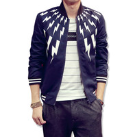 Wholesale black overcoats - Spring and autumn Fashion Print Men Bomber Jacket Men Outerdoor Overcoat Casual Men Coat Slim Fit Jaqueta Masculina