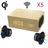 Wholesale Wireless Speakers For Desktop - Multifuction X5 Wood Portable Desktop Bluetooth Speaker with QI Wireless Charger NFC Dual USB Charger Alarm Clock Temperature functions