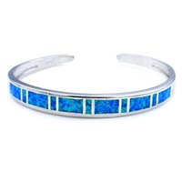 35b571b738f411 Wholesale   Retail Fashion Fine Blue Fire Opal Bangles 925 Silver Plated Jewelry  For Women BNT18073102