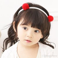 Wholesale infant lace tops - Baby Girls Ball top Headbands Flower Hollow out Infant Kids Baby Elastic Cotton Hairbands Children Knot Head Wrap Hair Accessories KHA640