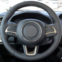 Wholesale compass cover for sale - Group buy Black Genuine Leather Hand stitched Steering Wheel Cover for Jeep Compass Renegade