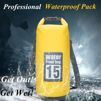 Wholesale dry bag 15l - 5L 10L 15L 20L Outdoor River trekking bag Dry Bag Double shoulder straps Water Pack Swimming Backpack Waterproof Bags Drifting Kayaking