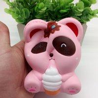 novidades para brinquedos panda venda por atacado-Panda Sorvete Squishy Toy Dos Desenhos Animados rosa Panda Squeeze Lento Rising Panda Brinquedos De Descompressão Novidade Itens FFA217 30 pcs