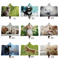 Wholesale cat pet hoodies for sale - Group buy Pets Hooded Blankets Adult Kids Sherpa Cloak cat dog Themed Hoodie Blanket D Print Fleece Shawls Plush Cape Outdoor Pads GGA1365