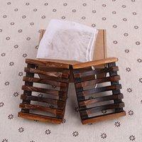 ingrosso portasapone d'epoca-2 pezzi / set vintage portasapone in legno portatovaglioli in legno portasapone accessori bagno doccia mano lavaggio scatola al minuto wx9-446
