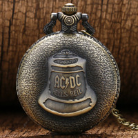 Wholesale Cool Pocket Watches - 2018 Hot Cool Retro Clock for Men Women Bronze AC DC Hell Bell Pattern Quartz Pocket Watch with Pendant Chain Creative Gift Relogio