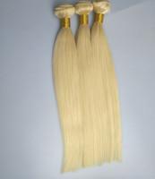 haut en soie marron achat en gros de-Top qualité soie droite vague bundle de cheveux 100% cheveux péruviens humains 100g / pc3pcs Lot, couleur 24inch 613 # P6 / 61326inch couleur marron 4 #, 9 lots