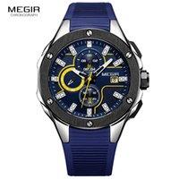 schwarze armbänder der männer großhandel-Megir Mens Chronograph Sport Runde Analog Quarz Armbanduhren Datumsanzeige Silikon Armband Strap 2053G Blau Schwarz