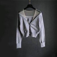 bayan kısa kollu hırka toptan satış-Avrupa sonbahar Yeni tasarım kadın seksi v yaka tül mesh patchwork perspektif tek göğüslü uzun kollu kısa örme kazak hırka