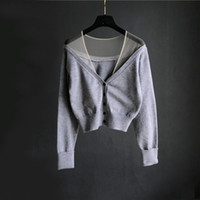 European autumn New design women's sexy v-neck gauze mesh patchwork perspective single breasted long sleeve short knitted sweater cardigan