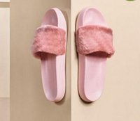 Wholesale high fenty shoe online - Fenty Rihanna Shoes Women Slippers Indoor Sandals Girls New Colors Fashion Scuffs Pink Black White Grey Fur Slides Without Box High Quality
