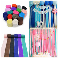 Wholesale paper roll backdrop - 10m Crepe Paper Streamers Roll DIY Photography Backdrops Wedding Supplies Birthday Party Baby Shower Decorations Background DDA528