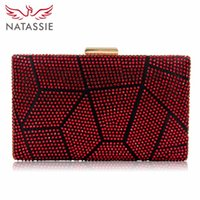 Wholesale Hot Fix Crystal Designs - Natassie New Design Women Evening Bags Two Side Crystal Party Bag Hot-fix Clutch Charmeuse Wedding Purse Female Clutches