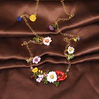 Wholesale Les Nereides - France Les Nereides Enamel Glaze Copper Romantic Fashion Various Flowers Women Long Necklace