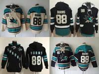 новые черные хоккейные майки оптовых-Factory Outlet, мужские женские 2017 новый Сан-Хосе акулы Мужские свитера #88 Брент ожоги черный крем хоккей толстовки трикотажные изделия бесплатная доставка