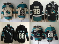 suéteres xxxl al por mayor-Factory Outlet, mens womens 2017 New San Jose Sharks Mens Sweaters # 88 Brent Burns negro crema Hockey sobre hielo Hoodies Jerseys envío gratis
