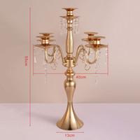 candélabre en verre métallique achat en gros de-vente en gros 55cm hauteur 5 bras en fer métal candélabre avec verre suspendu perles décoration de mariage table pièce maîtresse bougeoirs