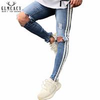 jeans vintage lavados azules para hombres al por mayor-Lado lateral de los hombres Jeans desgastados Pantalones de mezclilla rasgados Pantalones Vaqueros con cremallera en elástico Lavado Vintage Pantalones de lápiz de agujero azul