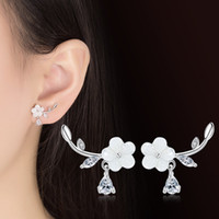 Wholesale cherry plum blossom - Luxury Fashion Jewelry Cute Plum flower Cherry Blossoms Flower Stud Earrings for Women Girl Several Peach Blossoms Earrings drop ship 350041