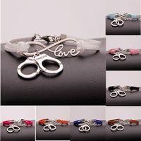 Wholesale Handcuff Leather Bracelet - New Hot Stylish Christmas Gift Police Handcuffs Pendant Love Infinity Charm Leather Bracelet Women Men Handcuffs Wrist Jewelry
