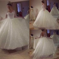 Wholesale bling wedding dress bows for sale - Group buy 2019 Bling Sequined Long Sleeves Wedding Dresses Ball Gowns Sweep Train Sexy V Neck Plus Size Wedding Gown