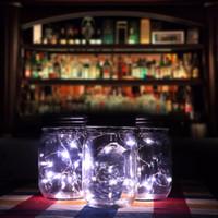 ingrosso vasi di fata-Nuovo design 3 pezzi Solar Mason Jar Fairy Light con Led bianco per vetro Mason Jars Party Garden Decorazioni per la luce di nozze