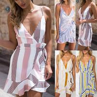 Wholesale womens v strings - Women Sexy String Dresses Defined Waist Stripe Dress Womens Clothing Irregular Casual Dresses