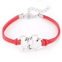 c0406eb7cd78 pulsera roja del corazón de la vendimia al por mayor-Color rojo de cuero  trenzado