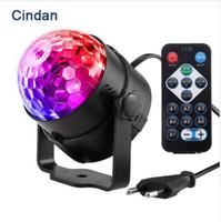 topu ledli sahne lambası toptan satış-7 Renkler DJ Disco Ball 3 W Ses Aktif Lazer Projektör RGB Sahne Aydınlatma etkisi Lambası Işık Müzik Noel KTV Parti Par Işık