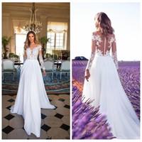 modern uzun elbiseler çevrimiçi toptan satış-Sırf Uzun Kollu Dantel Aplikler Şifon A-Line Gelinlik 2018 Bölünmüş Yan Bahçe Gelin Törenlerinde Özel Online Vestidos De Novia