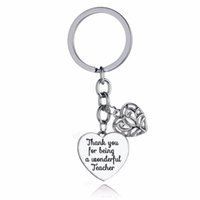 чудесные украшения оптовых-12PC/Lot Thank You For Being A Wonderful Teacher Keychain Gifts Love Heart Charms Keyring Teachers Key Chain Ring Holder Jewelry