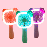 Wholesale Small Ears Cartoons - Lovely Cartoon Ears Handheld Small Electric Fans Two In One LED Night Light Fan Portable USB Mini Fanner 18 8qxa X