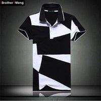 поло черный для мужчин оптовых-Дизайнер рубашки поло Мужской летняя мода новый мужской черно-белый шить хлопок короткие Поло рукавами рубашки поло тонкий мужчины 5xl 6xl