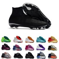 Wholesale cristiano ronaldo new soccer cleats for sale - Group buy 2018 new high ankle mercurial superfly XI soccer shoes for men CR7 FG Cristiano Ronaldo Neymar JR ACC Socks Soccer Cleats size39
