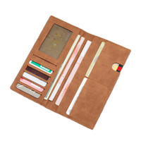 Wholesale personalized photo cards resale online - Thin section Vintage High quality PU leather clutch male leather Personalized fashion student folder