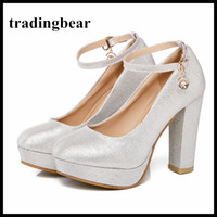 Wholesale bridesmaid shoes rhinestones resale online - Silver platform chunky heel ankle strap wedding shoes glitter pumps bridesmaid party prom wear big size to