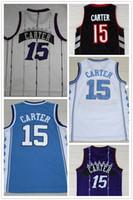 Wholesale university blue shirt - NCAA Wholesale Free Shipping 15 Vince Carter jersey, University of North Carolina Carter Shirt 100% Stitched logo Purple Basketball jersey