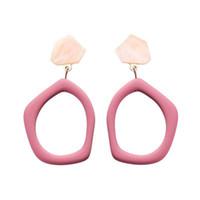 ingrosso l'orecchino acrilico ciondola-Nuovi orecchini geometrici irregolari vuoti acrilici cava per le donne Personalità Moda Ciondola Pendientes Oorbellen