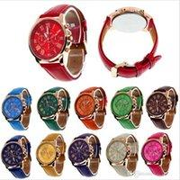 Wholesale Roman Leather Bracelet - Luxury Geneva Watch Unisex PU Leather Band Quartz Watches Men Women Dress Wrist Watch Roman Numerals Analog Wristwatches Bracelet 13 Colors